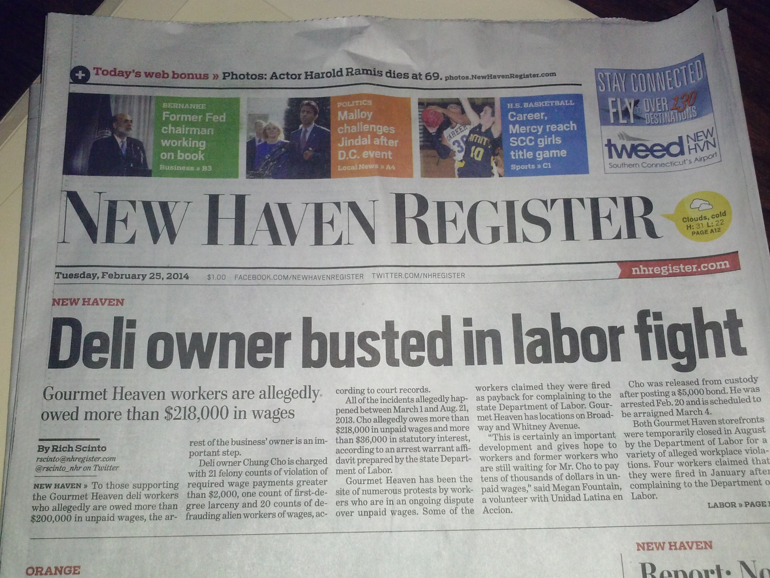 Deli owner busted in labor fight